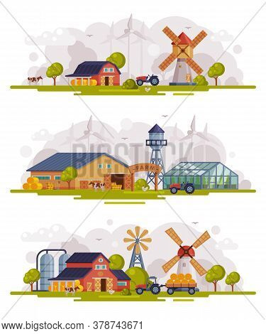 Farm Scenes Set, Rural Buildings And Agricultural Objects, Agriculture And Farming Concept Cartoon V