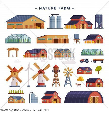 Rural Buildings Set, Barn, Country House, Windmill, Greenhouse, Wind Turbine, Agriculture And Farmin