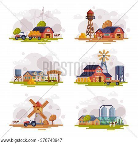 Farm Scenes Set, Autumn Rural Landscape, Agriculture And Farming Concept Cartoon Vector Illustration