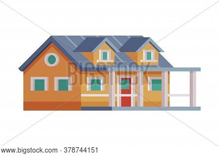 Wooden Country House, Rural Cottage Facade Cartoon Vector Illustration