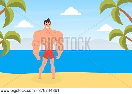 Muscular Strong Man Posing On Beach, Athletic Man Character In Red Swimming Trunks Standing And Smil