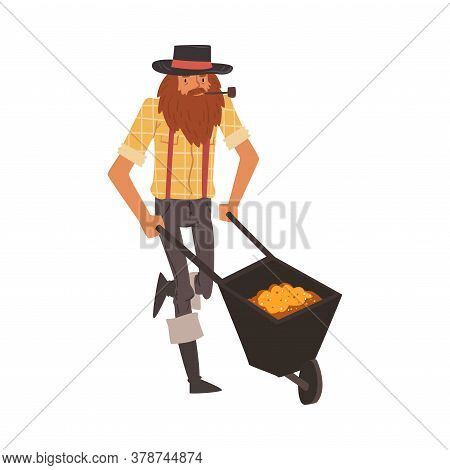 Male Prospector With Wheelbarrow Full Of Gold, Bearded Gold Miner Character Wearing Vintage Clothes