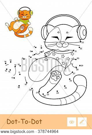 Colorless Vector Contour Dot-to-dot Image And Colorful Example Of Cute Cat In T-shirt, Listening To