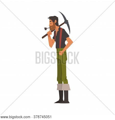 Male Prospector With Pickaxe, Bearded Gold Miner Wild West Character Wearing Vintage Clothes Smoking