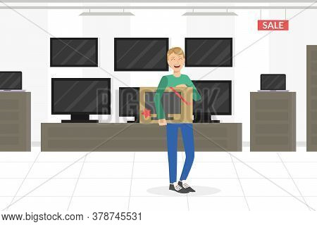 Young Man Choosing And Buying Tv In Appliance Store Vector Illustration