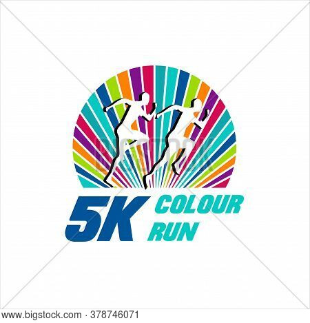 5k Marathon Run Event Logo Template With Running People Illustration, Vector Eps 10