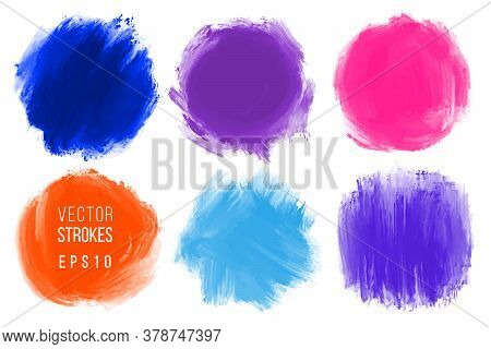 Vector Hand Drawn Brush Stains. Colorful Painted Round Shape Strokes. Artistic Backdrops. Bright Art