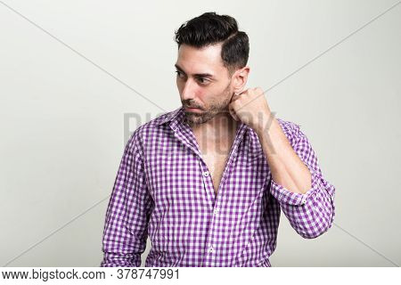 Portrait Of Handsome Hipster Man With Beard Stubble