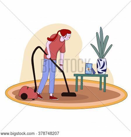 Housewife Vacuuming Home With A Vacuum Cleaner. Pretty Woman Doing Domestic Work. Cartoon Character.