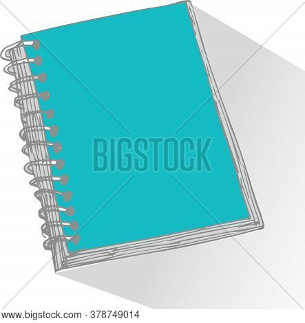 Sketch Of A Notebook. Vector Illustration With Hand Drawn Notebook Sheet. Blank Page Notebook