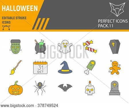 Halloween Color Line Icon Set, Holiday Symbols Collection, Vector Sketches, Logo Illustrations, Hall