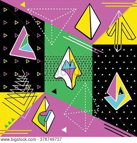 Abstract Modern Background. Trendy 80s-90s Style With Geometric Forms And Shapes