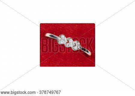 Ring Design,diamond Elegant Three Heart Platinum Plated Ring For Women & Girls