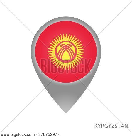 Map Pointer With Flag Of Kyrgyzstan. Colorful Pointer Icon For Map. Vector Illustration.