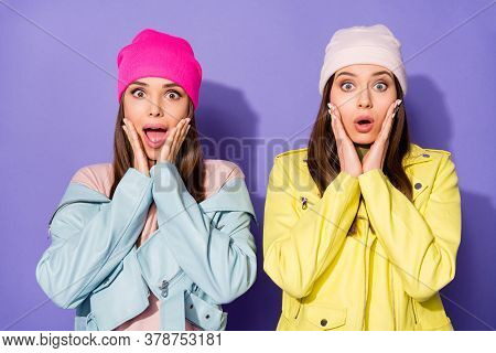 Close-up Portrait Of Nice Attractive Lovely Amazed Cheerful Worried Girls Omg Incredible News Reacti