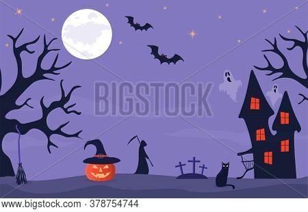 Halloween Banner With Haunted House, Orange Pumpkin With Hat And Cemetery. Full Moon Night In A Spoo