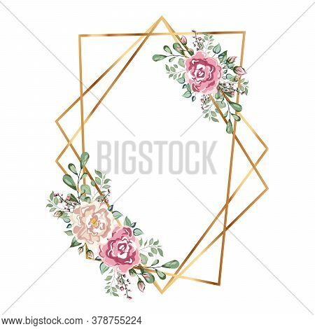 Gold Frame With Flowers. Geometric Crystal Polyhedron Shape On White Background. Just For You Handwr