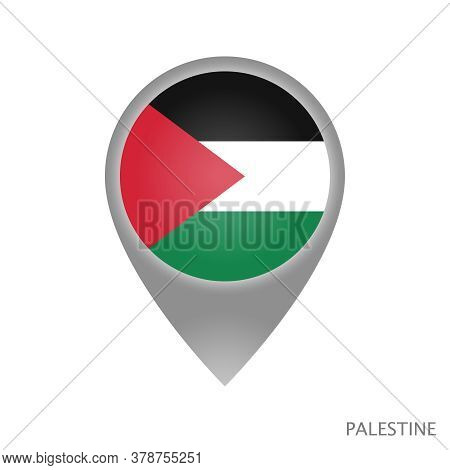 Map Pointer With Flag Of Palestine. Colorful Pointer Icon For Map. Vector Illustration