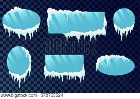 Icicles Boards Set. Vector Frozen Ice Icicle Frames For Sale Or Winter School Isolated. Frames With