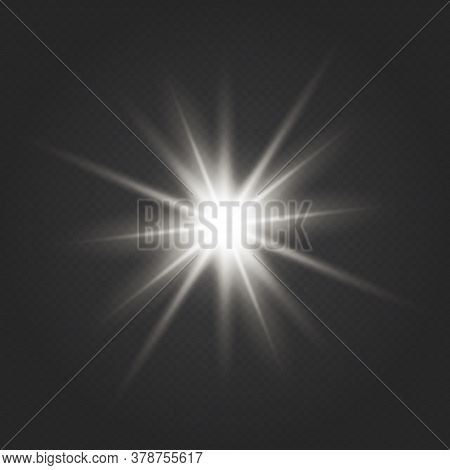 Transparent Glow Light Effect.  Transparent Shining Sun, Bright Flash. The Center Of A Bright Flash.