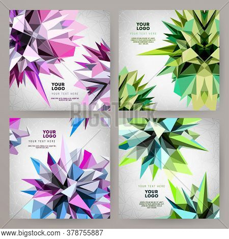 Set Of Vector Modern Abstract Cards With Geometric Asymmetric Triangle Shapes