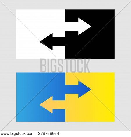 Data Transfer Icon Logo. Two Transfer Arrows. Black And White And Gradient Icon. Transfer Logotype C