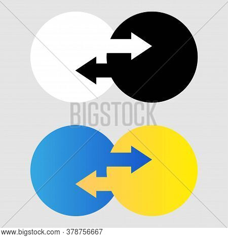 Data Transfer Icon. Two Transfer Arrows In Circle. Black And White And Gradient Icon. Transfer Logot