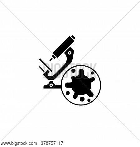 Virus, Bacteria And Microscope Icon, Symbol, Sign. Coronavirus, Covid-19 Icon, Logo Black On White B