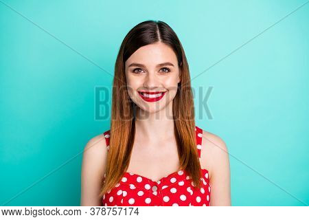 Closeup Photo Of Stunning Attractive Pretty Lady Bright Shiny Pomade Smiling White Teeth Good Mood W