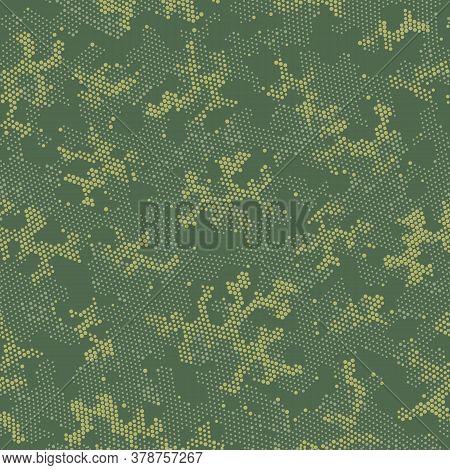 Seamless Vector Patterd Design.  Seamless Graphic Green Halftone, Camo Design. Beige Repeated Spots