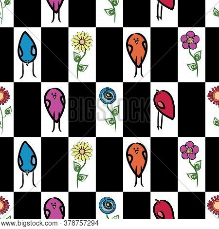 Vector Flowers And Birds In Red Blue Purple Yellow Green On White And Black Seamless Repeat Pattern.