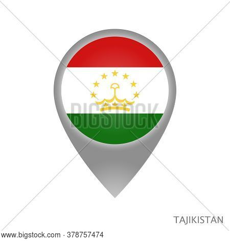 Map Pointer With Flag Of Tajikistan. Colorful Pointer Icon For Map. Vector Illustration.