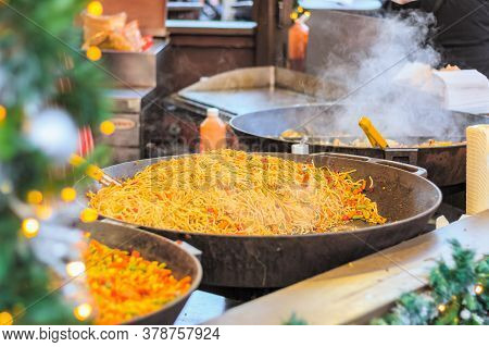Chinese Stir Fried Noodles On Display At Christmas Market In Winter Wonderland Of London
