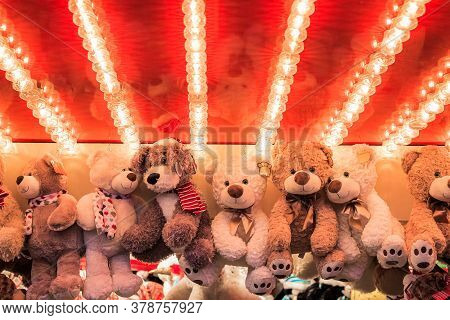 Stuffed Toy Bears On Display Awarded As Winning Prizes At Christmas Funfair Winter Wonderland In Lon