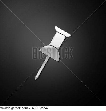 Silver Push Pin Icon Isolated On Black Background. Thumbtacks Sign. Long Shadow Style. Vector