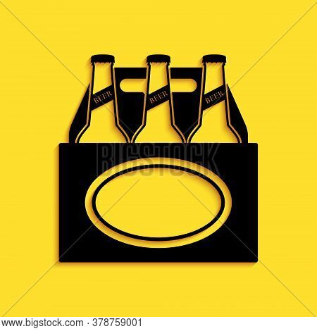Black Pack Of Beer Bottles Icon Isolated On Yellow Background. Case Crate Beer Box Sign. Long Shadow