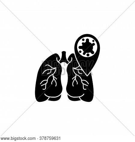 Virus, Bacteria And Lungs Icon, Symbol, Sign. Coronavirus, Covid-19 Icon, Logo Black On White Backgr