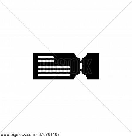 Ticket Icon. Simple Sign, Logo Black On White