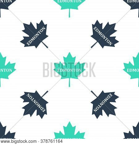 Green Canadian Maple Leaf With City Name Edmonton Icon Isolated Seamless Pattern On White Background