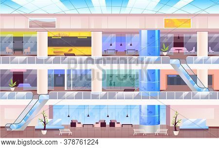Shopping Center Flat Color Vector Illustration. Large City Mall 2d Cartoon Interior With Multiple Fl