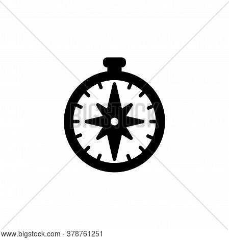 Compass Icon. Simple Sign, Logo Black On White