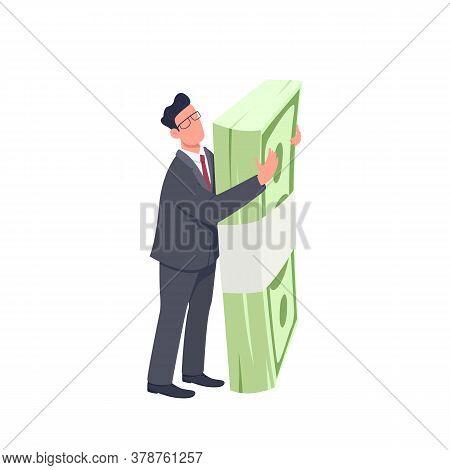 Entrepreneur Holding Money Bundle Flat Concept Vector Illustration. Man Standing And Hugging Big Cas