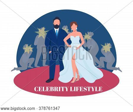 Celebrity Couple On Red Carpet 2d Vector Web Banner, Poster. Celebrity Lifestyle Phrase. Flat Charac