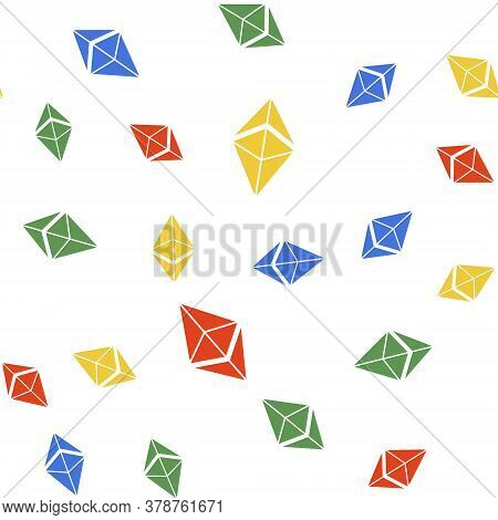 Color Cryptocurrency Coin Ethereum Eth Icon Isolated Seamless Pattern On White Background. Digital C