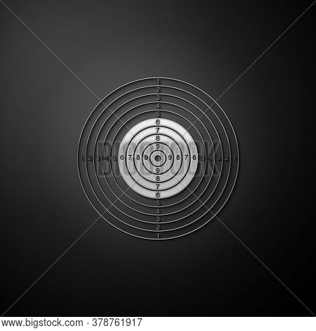 Silver Target Sport For Shooting Competition Icon Isolated On Black Background. Clean Target With Nu