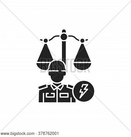 Military Court Glyph Black Icon. Judiciary Concept. Officer In Uniform Element. Sign For Web Page, M