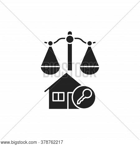 Arbitration Court Glyph Black Icon. Business Property Concept. Real Estate Law Element. Sign For Web