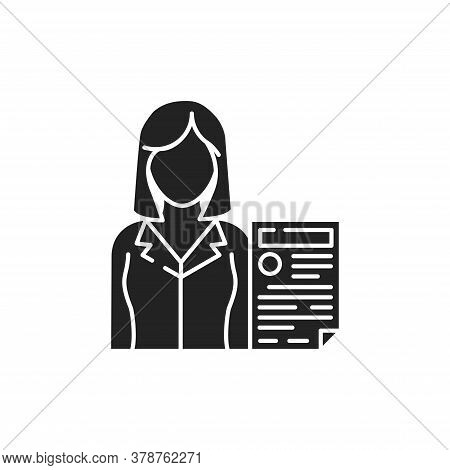 Prosecutor With Document Glyph Black Icon. Courthouse Concept. Law And Justice Profession. Sign For