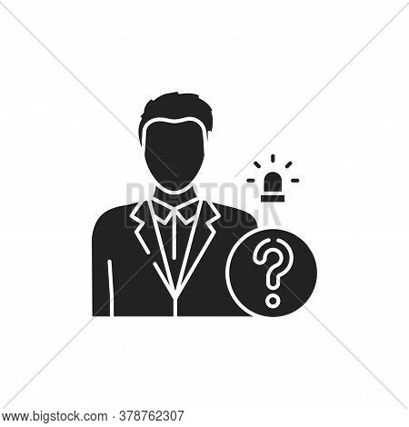 Criminal Court Glyph Black Icon. Defendant And Question Mark. Law Justice Concept. Proof Of Guilt Or