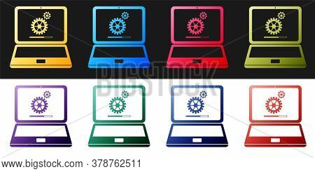 Set Laptop And Gears Icon Isolated On Black And White Background. Adjusting App, Service, Setting Op